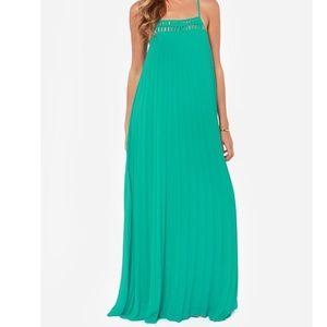 Lulu's The Pleat Life Teal Maxi Dress